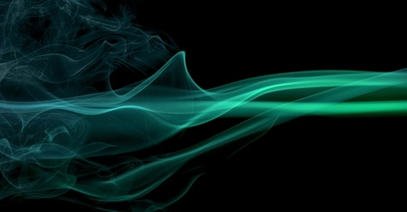 wavily: abstract picture showing some colorful blue and green smoke in black back