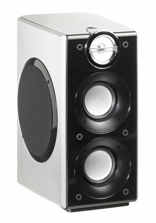 public address: studio photography of a small speaker in white back