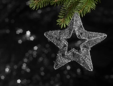 christmas deco: Navidad deco estrellas en la parte trasera borrosa oscura