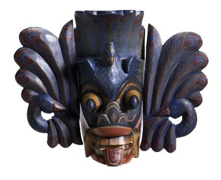 necromancy: wooden Sri Lankan mask in white back