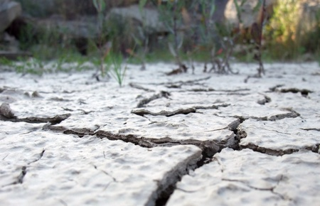low angle shot showing the border of a dry cracked soil area Stock Photo - 10839512