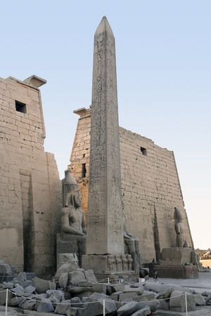 obelisk stone: architectural detail of the ancient Luxor Temple in Egypt (Africa) Stock Photo