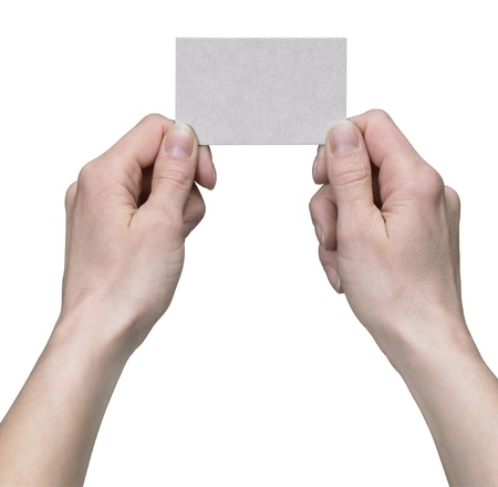 studio photography of two hands holding a clean card in white back photo
