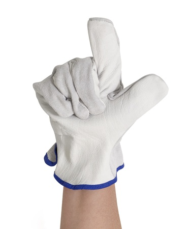 signaling hand gloved with a light grey working glove.Studio shot in white back Stock Photo - 10862413