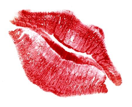 red lip-print in white back photo