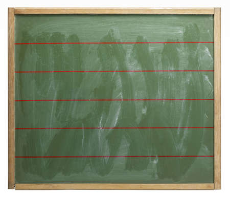 wiped out: old used red lined blackboard, badly wiped out. Studio photography in white back Stock Photo