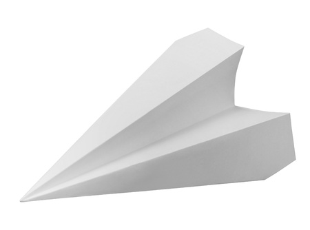 studio photography of a paper plane isolated on white with clipping path Stock Photo - 10862180