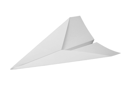 model airplane: studio photography of a paper plane isolated on white with clipping path