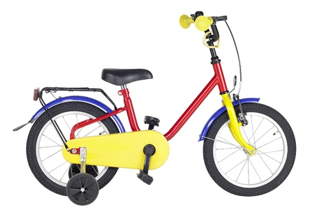 studio photography of a multicolored yuvenile bicycle in white back Stock Photo - 10862309