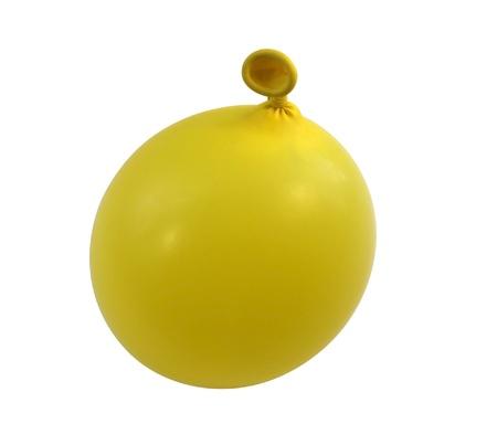 enclosing: fotografia in studio di un aereo pieno palloncino giallo isolato su bianco con il percorso di clipping