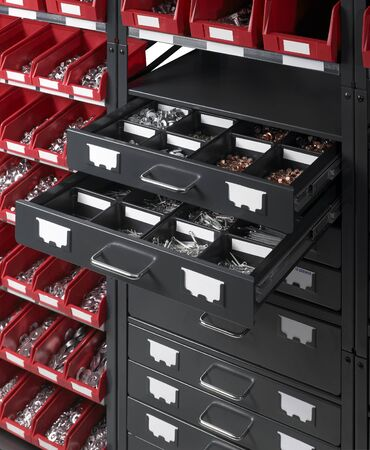 full frame detail of a tool cabinet with open drawers Stock Photo - 10863351