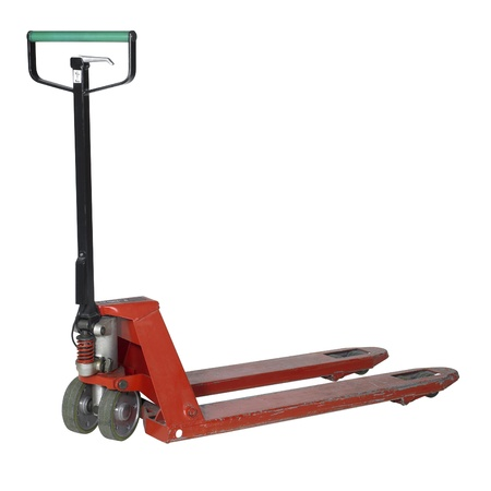 lifting jack: pallet jack in white back with clipping path