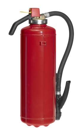studio photography of a upright red fire drencher isolated on white with clipping path photo