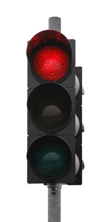 red traffic control signal isolated on white photo