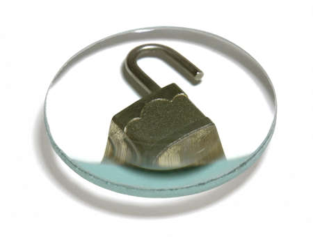 ciphering: security theme with a open padlock under a optical lens in white back with clipping path