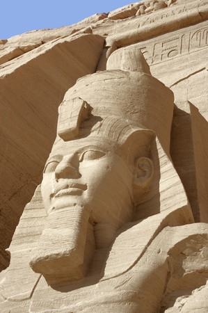 abu simbel: architectural detail of the historic Abu Simbel temples in Egypt (Africa) showing the head of Ramesses 2nd Stock Photo