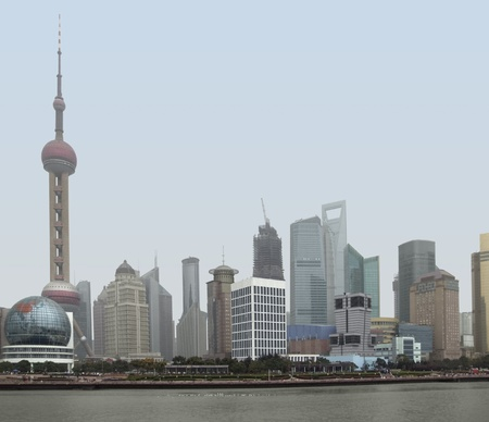 waterside city view of Shanghai in China, seen from Huangpu River