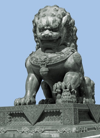 stone lion: metallic sculpture of a Chinese Lion Stock Photo