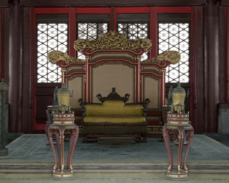 forbidden city: throne in the Hall of Preserving Harmony inside the Forbidden City in Beijing (China). The Forbidden City was the imperial palace from the Ming Dynasty to the end of the Qing Dynasty