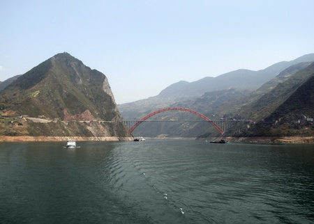 panoramic scenery along the Yangtze River in China including bridge and ships photo
