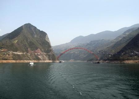 yangtze river: panoramic scenery along the Yangtze River in China including bridge and ships Stock Photo