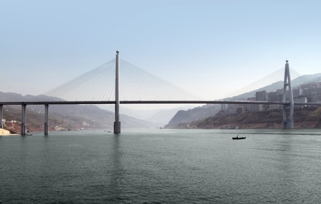 riparian: panoramic scenery including a bridge along the Yangtze River in China Stock Photo