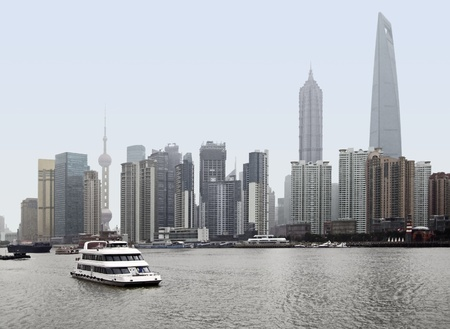 jin mao tower: city view showing the skyline of Pudong, a district of Shanghai in China Stock Photo