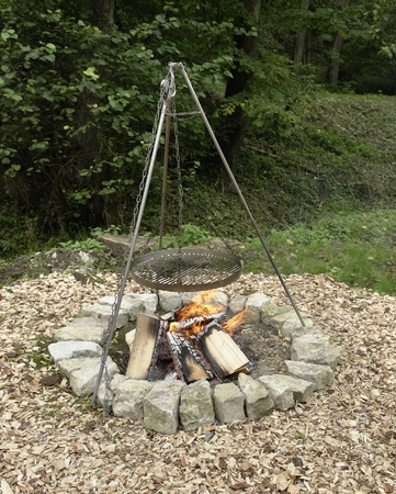 outdoor fireplace with barbecue equipment Stock Photo - 10863310