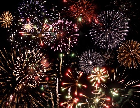 great colorful fireworks display at night photo