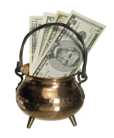 caldron: copper caldron with dollar banknotes inside, isolated on white with clipping path Stock Photo