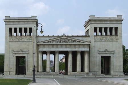 urbanized: nearly frontal shot of a building named Propylaeum in Munich (Bavaria, Germany)