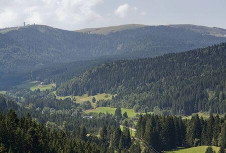 Luftbild einer idyllischen Landschaft im Schwarzwald (Süd-Deutschland) auf Sommerzeit