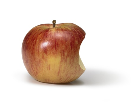 reflectance: apple with missing part in white back, looks a bit like the Apple logo