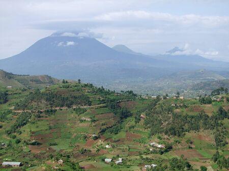 human settlement: aerial view around the Virunga Mountains in Uganda (Africa)