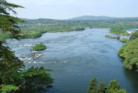 aerial view around the Bujagali Falls in Uganda (Africa) Stock Photo - 10863294