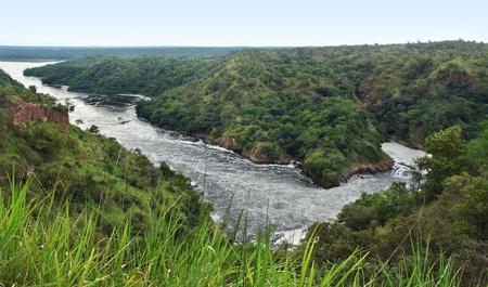 white nile: paisaje �ngulo alto alrededor de las Cataratas Murchison, en Uganda (�frica)