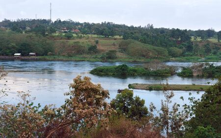 nile source: waterside scenery around River Nile source in Uganda (Africa) Stock Photo