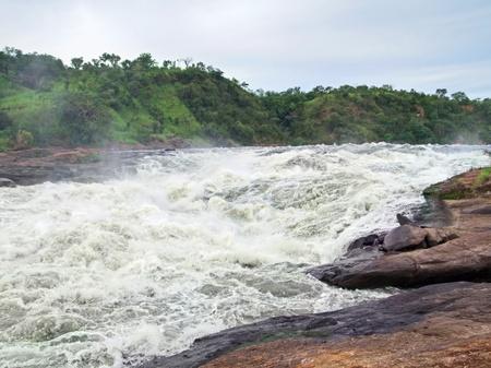 white nile: paisaje natural alrededor de las Cataratas Murchison, en Uganda (�frica) Foto de archivo