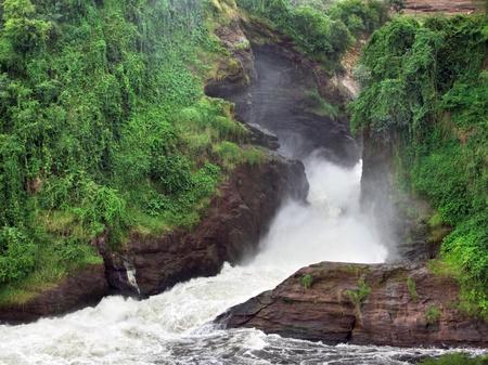 white nile: detalle de las cataratas de Murchison con la formaci�n de rocas verdes crecido en Uganda (�frica)