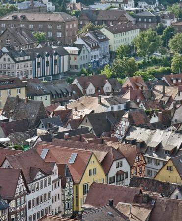 wertheim: aerial view of Wertheim am Main (Southern Germany) in sunny ambiance