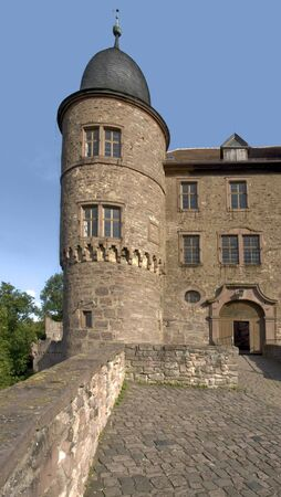 wertheim: frontal detail of the Wertheim Castle in Southern Germany in sunny ambiance Editorial