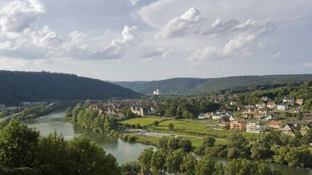 wertheim: panoramic scenery around a city named Wertheim am Main in Southern Germany at summer time