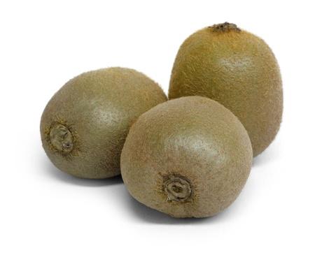 actinidia deliciosa: 3 kiwi fruits in white back with shadow