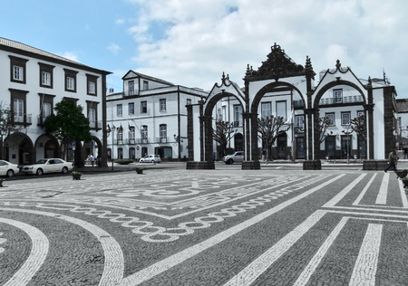 urban scenery at Ponta Delgada, capital city of the Azores at S Stock Photo