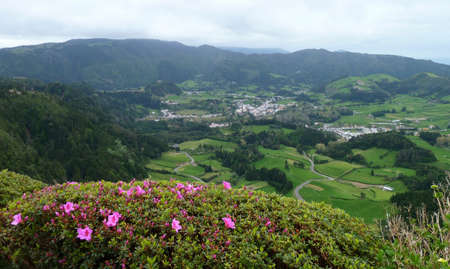 agriculture azores: panoramic scenery at Sao Miguel Island Stock Photo