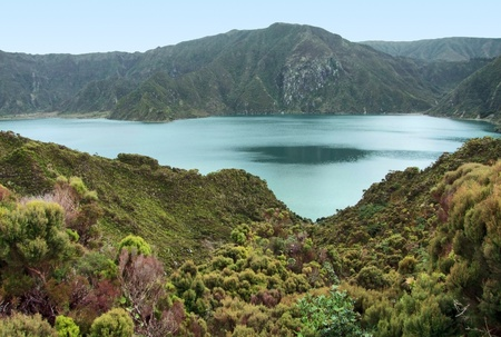 agriculture azores: rocky lakeside scenery at Sao Miguel Island Stock Photo