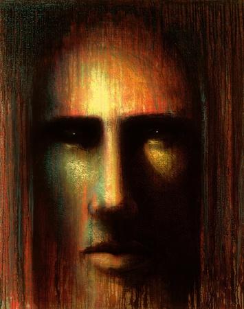 """beeld dat me wel """"in het achterhoofd VI"""", is een frontale mystieke gezicht met meditatieve uitdrukking in warme kleuren vertoont"""