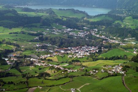 agriculture azores: panoramic aerial view at Sao Miguel Island