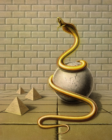 fortified: Picture painted by me, named Occupancy, it shows a golden snake wound around a globe made of stone in surreal ambiance with stone tiles, stone wall and pyramids Stock Photo
