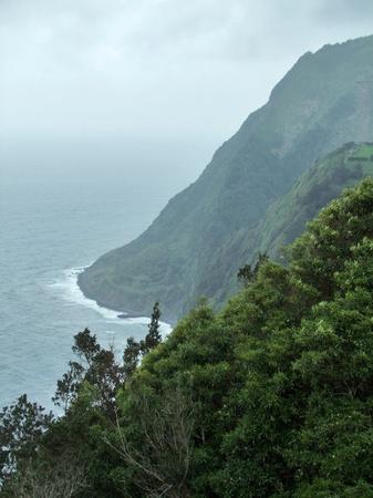 stormy coastal scenery at Sao Miguel Island photo